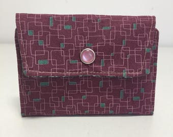Womens Wallet, Purple Flam Wallet, Fabric Wallet with Pockets and ID Pocket