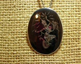 Siam Vintage Sterling Silver Nielloware Pendant/Brooch Necklace MoonMagicTreasures Collectable
