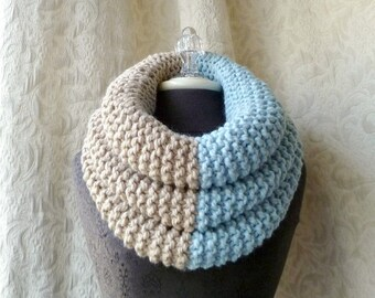 50% Off Sale - El Grande Cowl - Chunky Knit Cowl - Oversized - Icy Blue and Linen