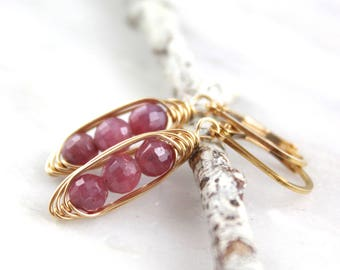 Pink Ruby Wrapped Pod Gold Earrings