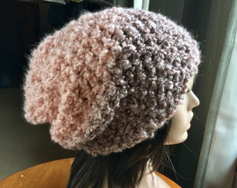 Warm Winter Hat Pink and Taupe Boucle Ladies Hat Big Slouch Hat Ski Hat