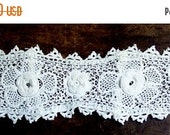NEW YEAR SALE Fancy Vintage Irish Crochet High Neck Heavy Flowers And Leaves