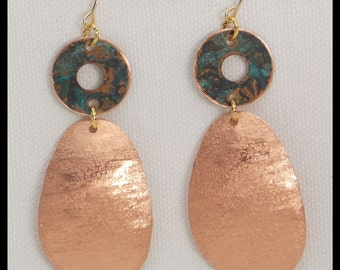 SHIMMER - Handforged Shimmery Textured and Patinated Copper Statement Earrings