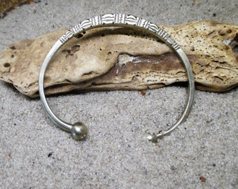 Heavy Etched  Silver West African Bracelet
