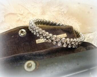 vintage double row rhinestone expansion bracelet circa 1950s double row bRilliant prong set rhinestones