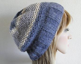 Hand knit beanie hat light grey ecru stone wool dark blue alpaca textured stripes soft warm winter fall men teen women unisex READY MADE