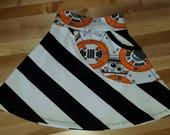 Handmade Girl summer Star Wars BB8 Fabric skirt! Custom lycra cotton fabrics! Size 5T/ 5 year!