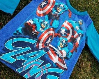 Handmade Boys Recycled top!  Licensed Captain America fabrics used!  Upcycled super hero shirt!  Size 6/8!