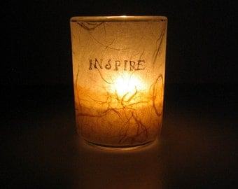 Illuminated Earth Light - INSPIRE - candle, candle holder, handmade paper, ecru and ginger, word, decorative, home décor, modern, ooak, gift