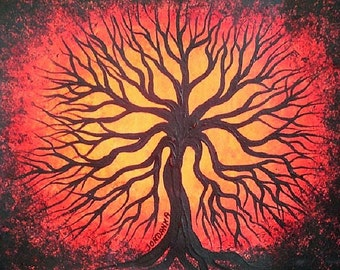 Tree Art, Red tree, Art, Original acrylic painting, Landscape painting by Jordanka Yaretz