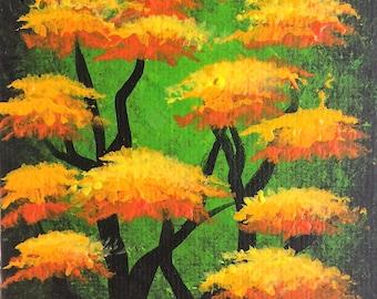 Tree painting, trees, forest, original fine art, acrylic painting, Autumn trees