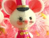 Vintage Style Kitsch Felt Christmas White Drummer Mouse Ornament - Fuschia Pink
