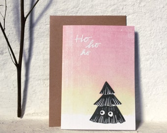 Ho ho ho - christmas greeting card - A6 - 100% ECO recycled paper
