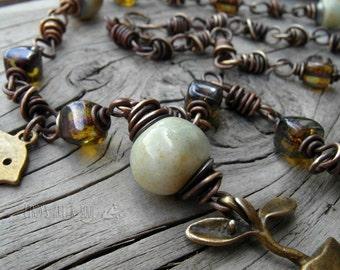 Beaded Necklace. Garden Necklace. Flower Pot Necklace. Little Bird. Bronze.