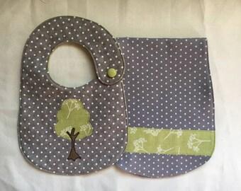 Tree of Life Bib and Burp Cloth Gift Set