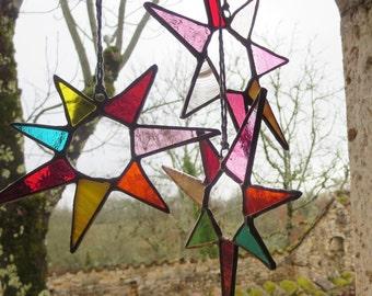 Boho Suncatcher, Stained Glass Suncatcher, Colorful Light Catcher, Glass Flower Burst, Abstract Flower Suncatcher, Muted Tones