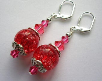 Padparadscha Pink Quartz Earrings  Swarovksi Crystal Silver Leverback Hooks Wire Wrapped Gemstone Earrings Gift Boxed