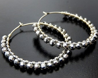 Silver Hoop Earrings, Wire Wrapped Hoops, Sterling Silver Charcoal Beaded Glass Hoop Earrings