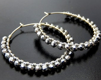 Silver Beaded Hoop Earrings, Wire Wrapped Hoops, Sterling Silver Charcoal Glass Hoop Earrings