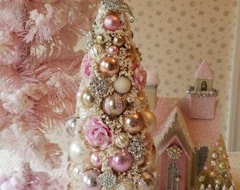 Bottle Brush Tree - Shabby PINK ROSES, Mercury Glass, Rhinestone Bow topper, Glitter, Snow