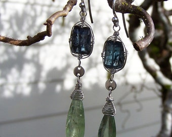 Blue and green Kyanite,  sterling silver French earwire earrings