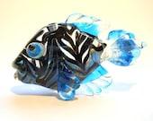 Aqua blue Fish Necklace Lampwork glass bead, raked transparent handmade pendant, Italian glass designer ocean focal bead, SRA art glass
