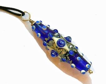 Cobalt Blue glass bead necklace, Lampwork Focal Glass Bead Pendant pendant, baroque lamp work handmade art bead, artisan jewelry supplies