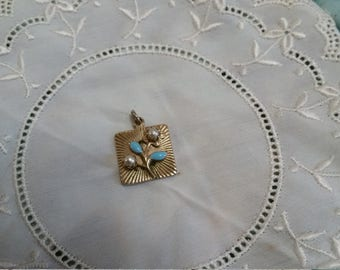 Gold Metal Pendant with Pearl & Enamel Accents