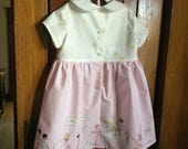 Custom Girl Dress Sarah Jane Sommer Fabric Tangled Tulip  Sizees 3 Toddler Short Sleeves Back Button Opening