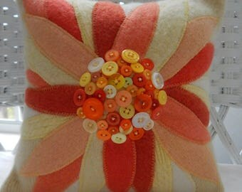 Recycled Cashmere Sweater Large Flower Pillow with Buttons for Center - Yellow, Orange and Cream