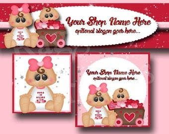 New!  Premade Etsy Cover Photo - Large Banner - Etsy Shop Banner - Shop Icon - Shop Profile - Etsy Shop Design - Valentine - Babies - Hearts
