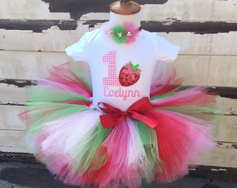 Strawberry 1st Birthday Tutu Outfit- Personalized Baby Girl