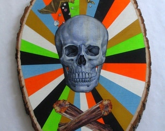 Original Collage & Painting on Wood-Skull and Cross Bones Logs