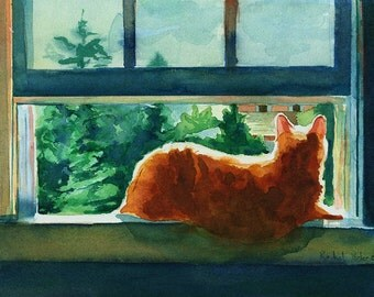 Orange Marmalade Tabby Cat Art Painting PRINT Watercolor painting  Rachel Parker Artist Custom hand painted handmade huge large