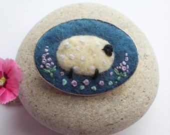 Felt Sheep Brooch Pin Indigo Dyed Fibres