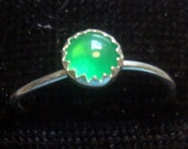Emerald Green Chalcedony ring 5mm , skinny stacking size 4.75 , 3.75 or 6 Promo/Prototype * Ready to Mail * BIG SALE * solid sterling silver