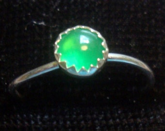 Emerald Green Chalcedony ring 5mm , skinny stacking size 9 and 9.5 Promo/Prototype * Ready to Mail * BIG SALE * solid sterling silver