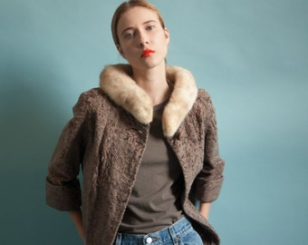 50s faux persian lamb mini coat / mink collar coat / faux lambswool coat / s / R5