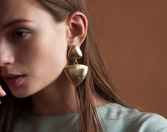 gold triangle drop earrings / geometric earrings / oversized statement earrings / 1338a