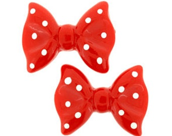 25 Pieces Bow Resin Flatback in Red