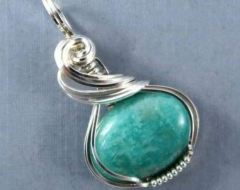 Russian Amazonite Gemstone Pendant petite wire art Sterling Silver wire wrapped
