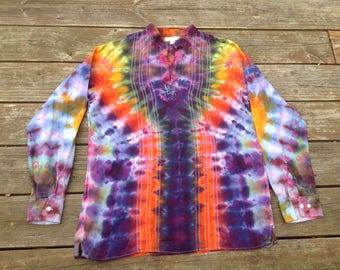 Womens Medium Tie Dye Tunic Linen Shirt Banana Republic Upcycled Top