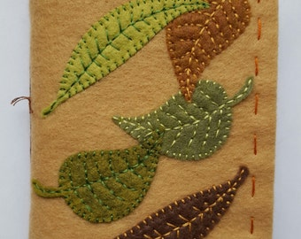 Autumn Leaves felt covered journal - handmade