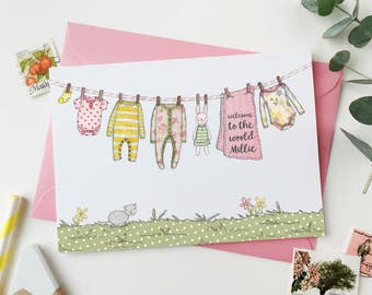New Baby Card - Pinks and Yellows - Personalised Washing Line - Baby Girl - Baby Boy - Welcome To The World Baby Card - Baby Keepsake Card