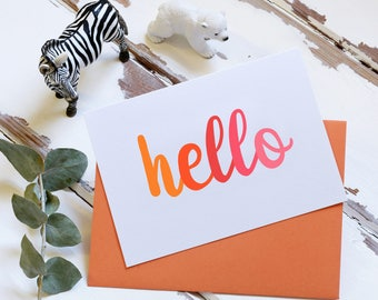 Hello Card - Orange – Blank Card - Typography Card – Notecard – Special Message Note Card – Greetings Card – Welcome Card