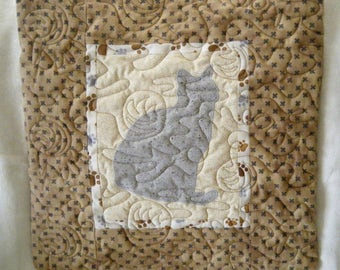 CAT in grey - Quilted throw pillow 16 inches