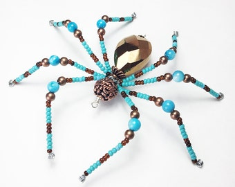 Winslow - turquoise and copper glass beaded spider goth sun catcher - Halloween decoration - Christmas ornament