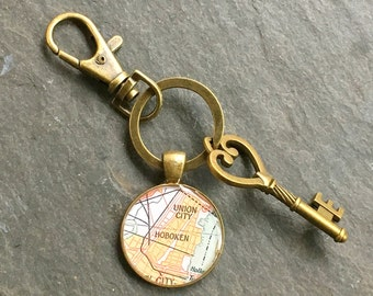 Hoboken Keychain Bronze with Ring Swivel Clasp and Key Vintage New Jersey Map Union City