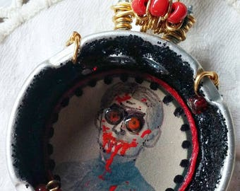 Original Mixed Media Assemblage Necklace Creepy Hungry Harriett One of a Kind Strange and Unusual Whimsical Vampire Goth Necklace