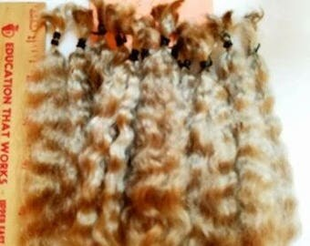"""F225-1 Lustrous Brushed Bundled Washed 5.5-6""""  Natural Yearling Mohair from Saffron .5 OZ"""